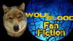 Rhydian in wolf form and the Wolfblood logo with 'Fan Fiction' written on it.