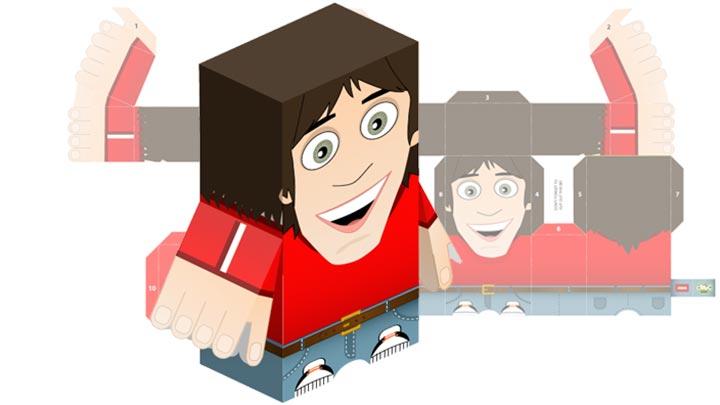 Paper toy of CBBC presenter, Ed Petrie.