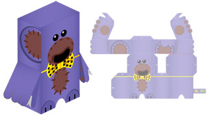 Paper toy of Nev The Bear.