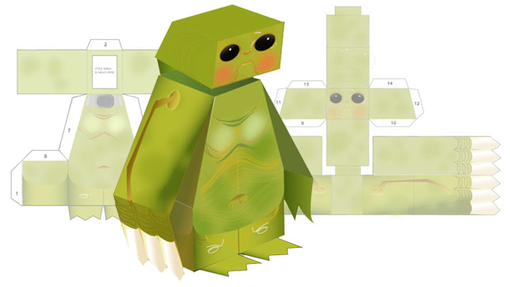 Paper toy of a Slitheen.
