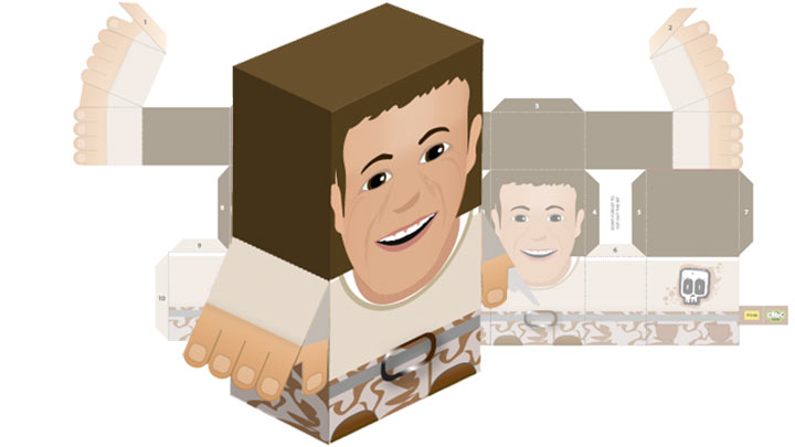 Paper toy of Steve Backshall.