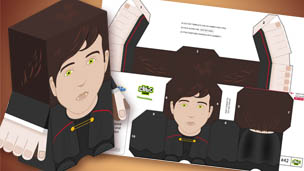 The finished Vlad paper toy and the print out.