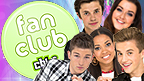 Cel, Shannon, Richard, Dionne and George, on a Friday Download background, next to a 'Fan Club' badge.