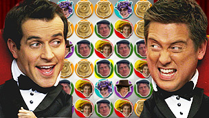 Diddy Dick and Dom in tuxedos in front of the Diddy Movies - Premiere Pop game board.