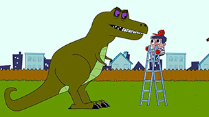 The cartoon character from How To Be Epic fighting a T Rex.