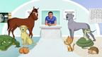 illustrations of animals in vet clinic