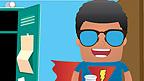 A boy in a superhero costume.