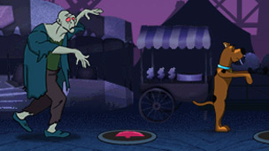 Scooby Doo running away from a monster.