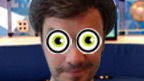 Blue Peter presenter Barney Harwood with googly eyes.