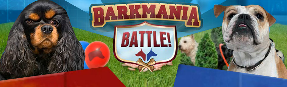 Two dogs inbetween the 'Barkmania Battle' logo.