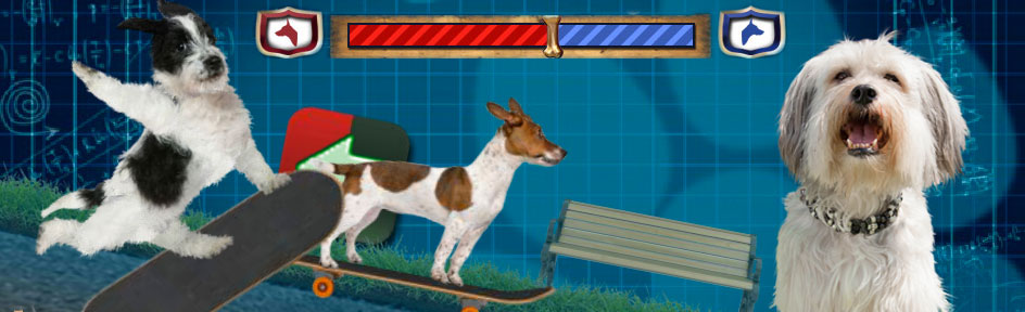 Two virtual dogs perform tricks on skateboards. Pudsey the dog is in the foreground.