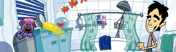 Cartoon Nev hiding in a bin with a shower cap on.
