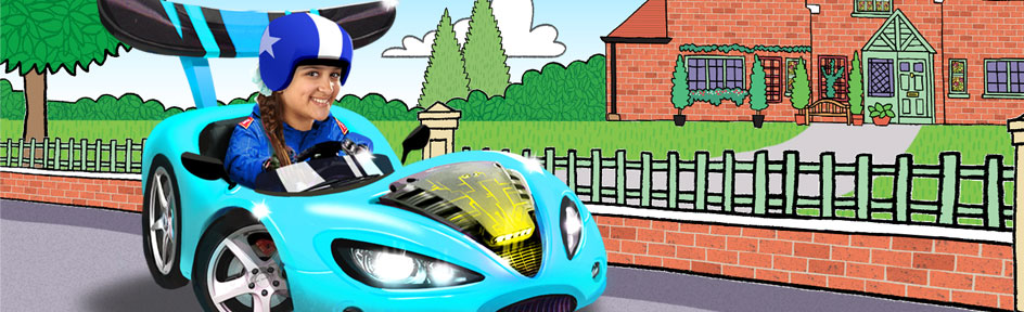 Carmen drives a racing car infront of The Dumping Ground home.