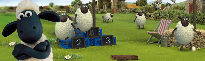 Shaun the Sheep with the Championsheeps in the farmyard.