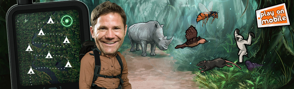 Steve Backshall and wild creatures in the Deadly Defenders game.