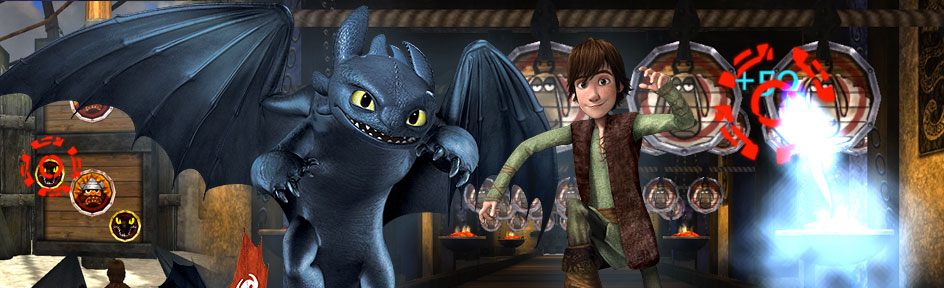 Hiccup and Toothless from Dragons – Riders of Berk in front of targets with sheep and warriors on them.