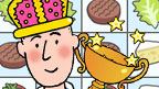 Mike wearing a crown with a trophy, in front of the Snack Stacker game.