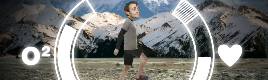 Tim running across the mountains