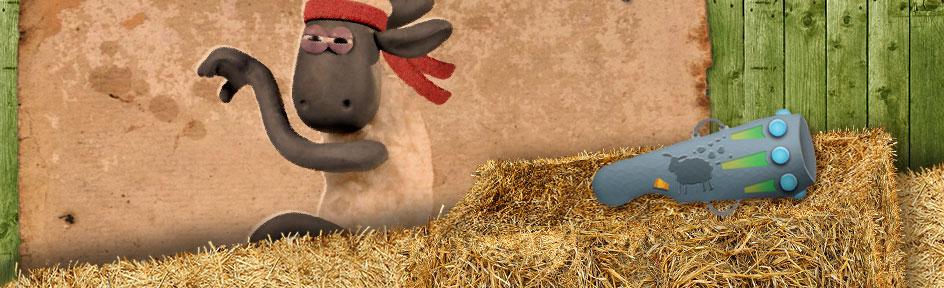 Shaun the sheep holds a martial arts pose and wears a bandana.