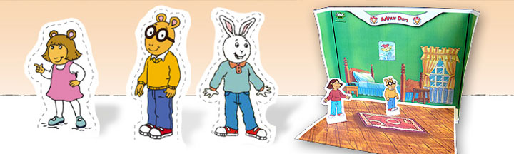 DW, Arthur and Buster Paper Pals next to the Arthur paper Den.
