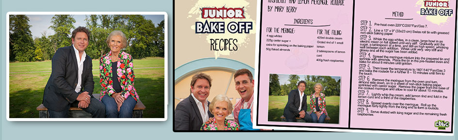 James Martin and Mary Berry next to the Junior Bake Off Recipe