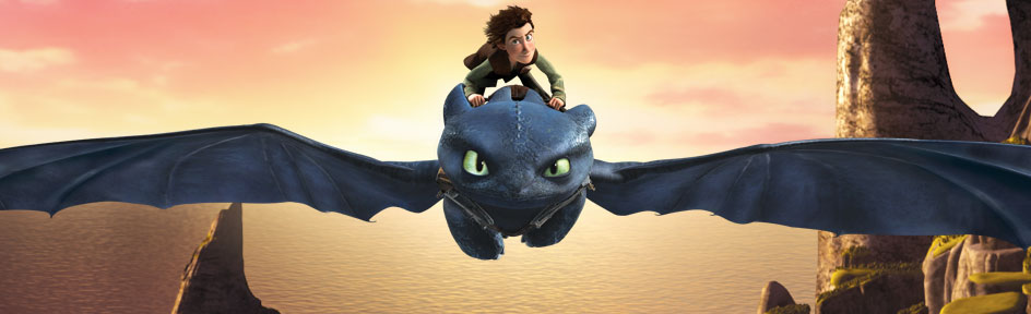 Hiccup riding on Toothless.