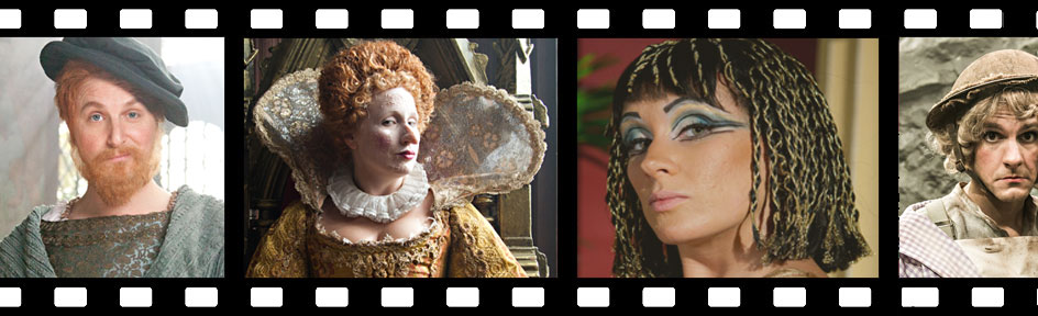 Various historical characters in a film reel.