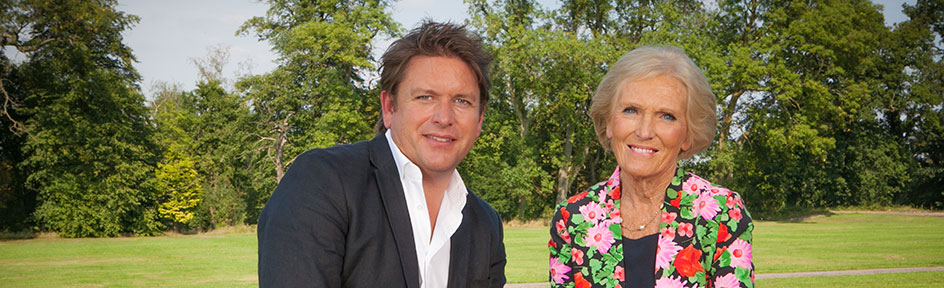 James Martin, Mary Berry and Aaron Craze discussing Bake Off