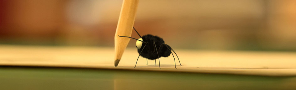 The minuscule spider holding a pencil.