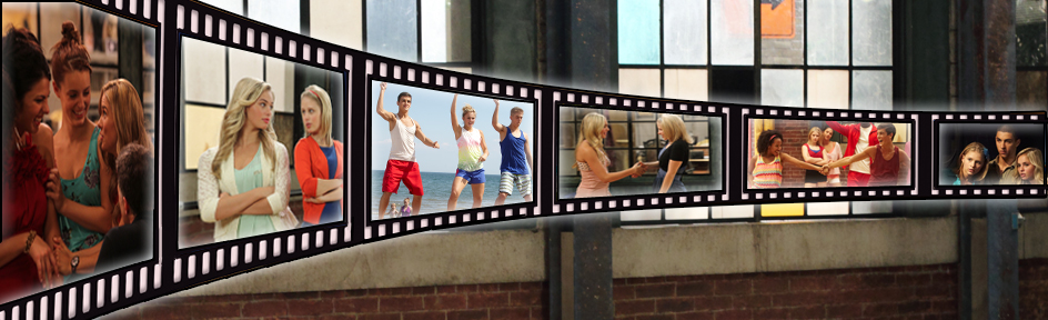 Various The Next Step stills contained within a film strip image.