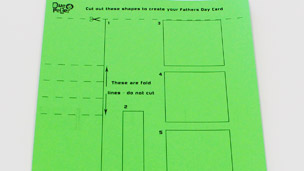 Template printed out on green paper