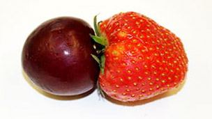 Plum and strawberry joined together