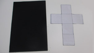 The print out template next to the felt material