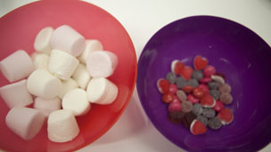 Marshmallows and Sweets in bowls