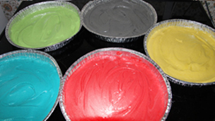 Mixtures in baking tins