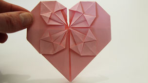 Finished origami heart