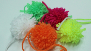 Different coloured pompoms