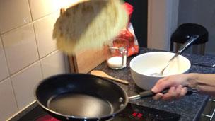 Pancake being tossed