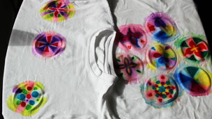 Finished tie dyed t-shirt