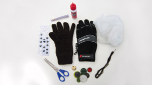 The materials needed to make the glove toys