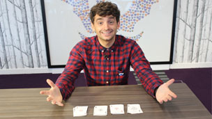 Fergus Flanagan performing a magic card trick