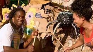 Nigel and Michelle with a spider pinata.