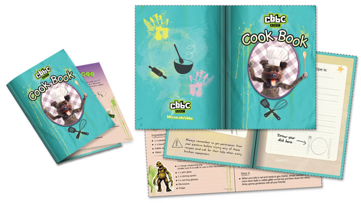 Constructed CBBC Cook Book next to the unconstructed print outs.