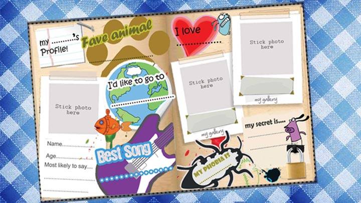 CBBC Friend Book profile decorated with cartoon dogs, hearts and a guitar.
