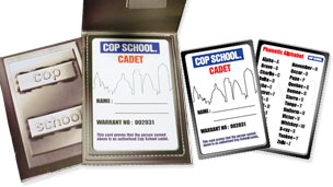 Paper Cop School flip wallet with phonetic alphabet and warrant card.