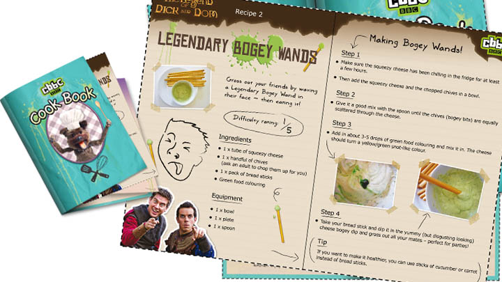 The finished CBBC Cook book alongside the Dick and Dom print out.