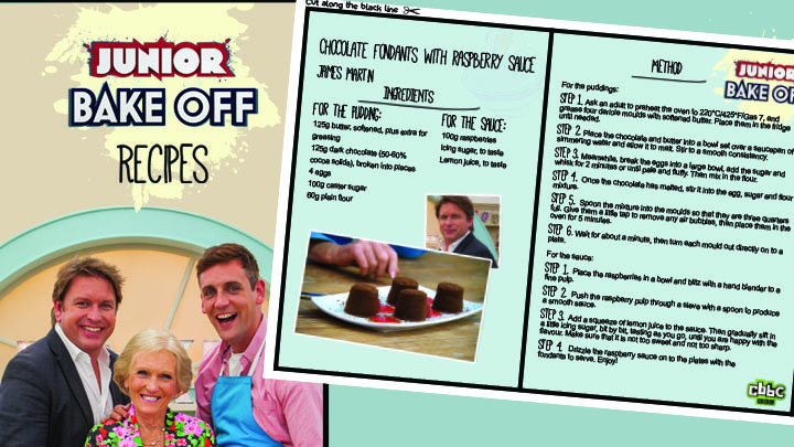Junior Bake off Recipe book cover and chocolate fondant recipe