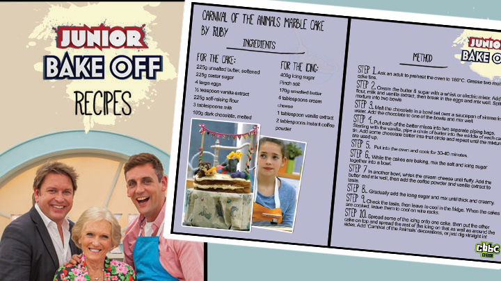 Junior Bake Off Recipe front cover next to the Carnival cake recipe