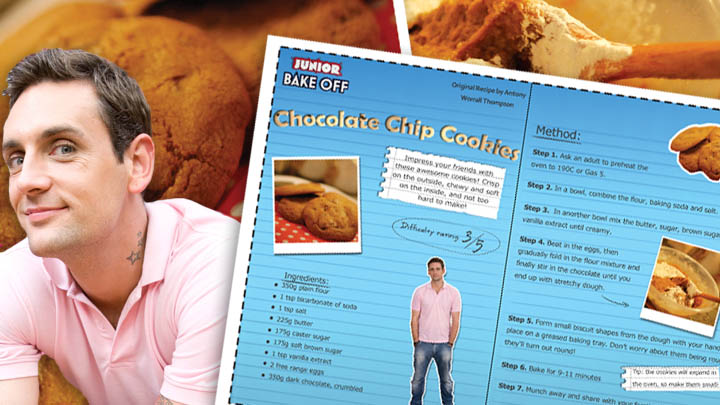 The recipe card next to Aaron from the show and a giant cookie.
