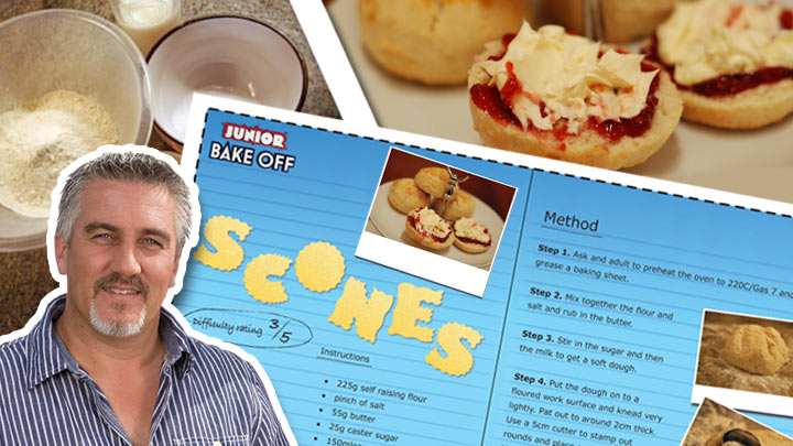 Paul next to the scone recipe card print out.